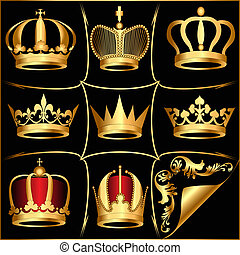 set golden crowns on black background - illustration set...