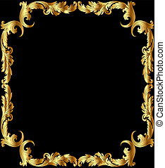 illustration frame from gild with pattern on black...
