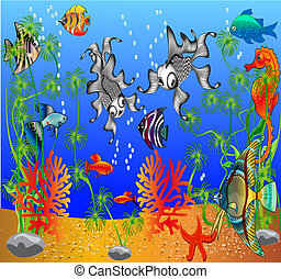 of the fish and algaes - illustration of the fish and algaes...