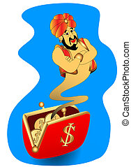 genie appears from wallet - the illustration genie appears...