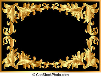 illustration background pattern frame from gild on black...