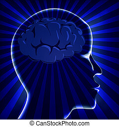 illustration brain human with ray on turn blue background