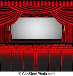premises theatre with screen and chair - illustration...