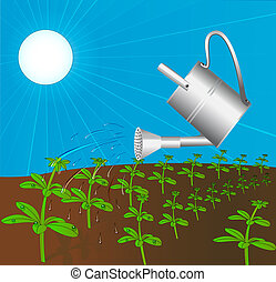 sprinkling can waters plant solar daytime - illustration...