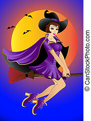 sexual witch , flying on broom - illustration sexual witch ,...