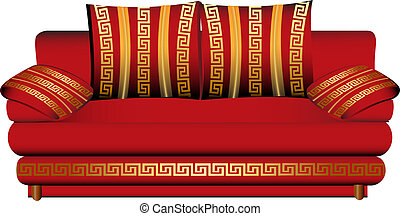 sofa red with pattern bath white