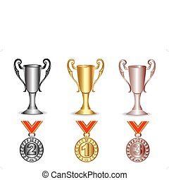 gold, silver, bronze cup and medals - illustration gold,...