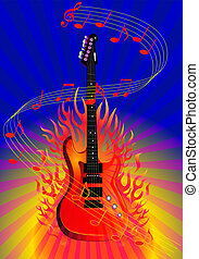 music background with guitar and fire - illustration music...