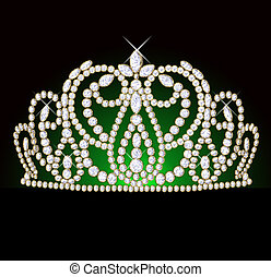 diadem feminine with reflection on black translucent green...