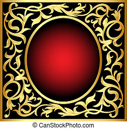winding gold pattern frame - illustration vegetable winding...