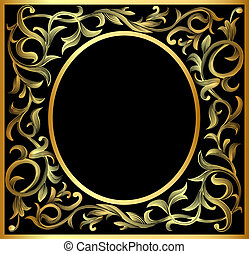vegetable gold pattern frame - illustration vegetable...