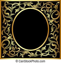 vegetable gold pattern frame - illustration vegetable...