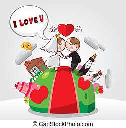 cartoon wedding card
