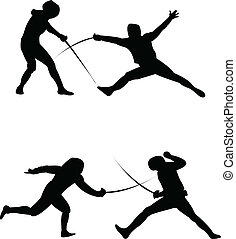 Fencing silhouette - vector