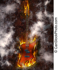 Flaming Bass Guitar against rusted metal background