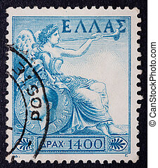 Greek Stamp from the 1970s - Greek stamp showing a reclining...