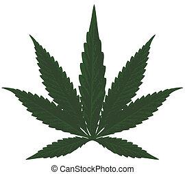 Marijuana (Cannabis) - Hemp leaf illustration, Vector