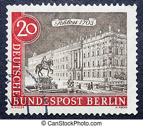 German stamp - A stamp printed in Germany shows a statue of...
