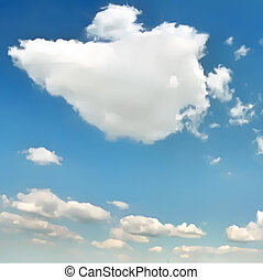 White clouds in blue sky. Vector