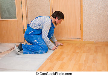 Laminate laying on a floor