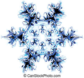 snowflake - nice blue snowflake isolated on the white...
