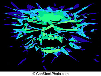 human skull in green color isolated on the black background