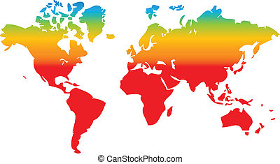 world map in rainbow colors as nice geography background