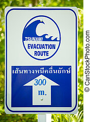 Tsunami evacuation route sign white and blue