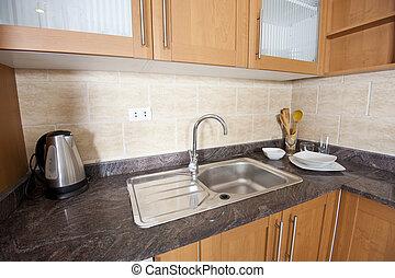 fregadero, mostrador, cima, cocina