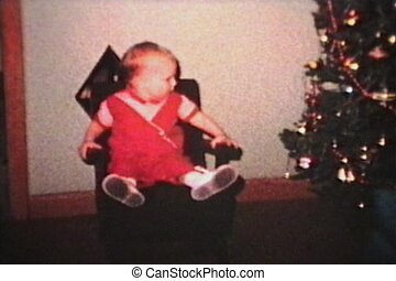 Baby Admiring Christmas Tree 1963 - A little 1 year old boy...