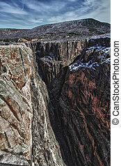 Steep walls of the Black Canyon Of The Gunnison National...