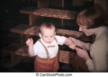 Baby Boy Eats Christmas Dinner 1962 - A cute little baby boy...