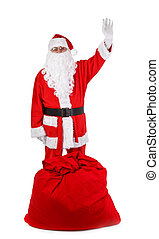 Funny santa claus isolated on white background, minimal...