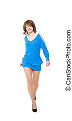 charming girl in a blue short dress It is isolated on a...