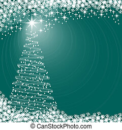 Xmas tree background - Christmas tree with snowflakes and...