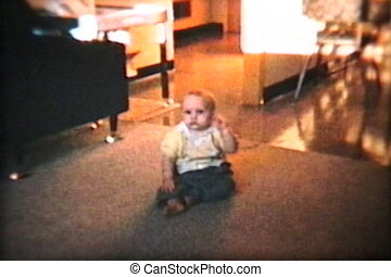Baby Boy Excited To Walk 1963 - A cute little baby boy...