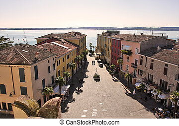Aerial view on Sirmione, Italy. - Aerial view on paved...