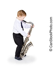little boy with a saxophone - The little boy in black...