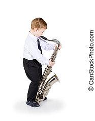 pequeno, Menino, saxofone