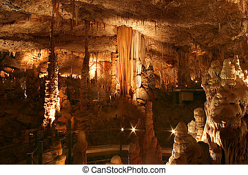 Stalactite cave. - Stalactite and stalagmite cave view.