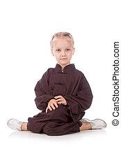 girl - karate in a black kimono