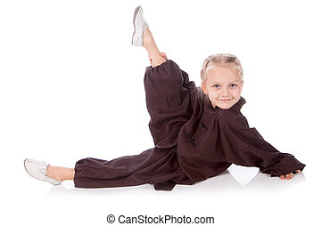 girl - karate in a black kimono on a white background