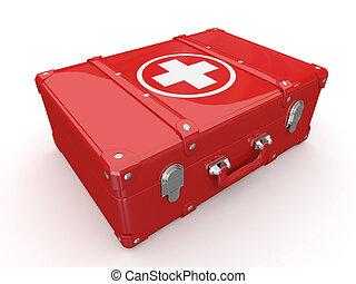 primeiro, ajudas, médico, equipamento, 3D