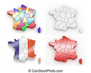 Three-dimensional map of France on white isolated background...