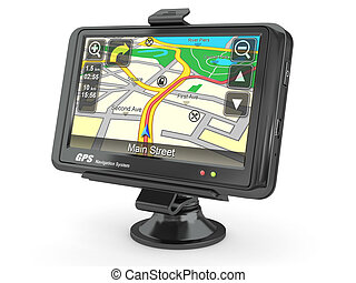 Navigation system. Gps. 3d - Navigation system. Gps on white...