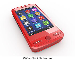 Red mobile phone 3d - Red mobile phone on white isolated...