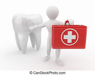 Stomatologist, dente, homens, médico, equipamento