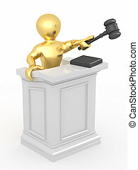 Men with gavel on white isolated background 3d