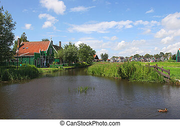 Zaanse Schans - small dutch vilage. - View on small creek...