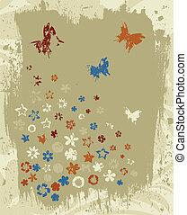 Retro a flower4 - Flower grey retro a background A vector...